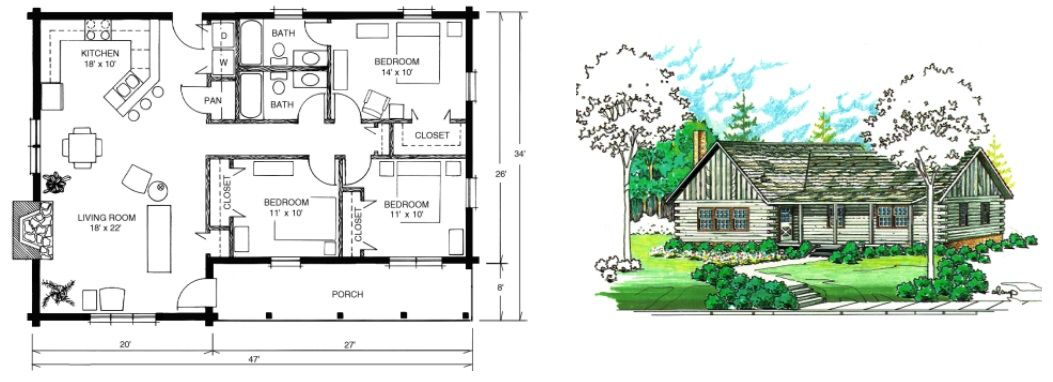 Plano casa de madera una 1053 382 ladrillos - Planos de casas de madera ...