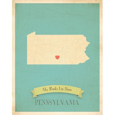 Children Inspire Design My Roots State Personalized Map Gallery Wrapped on Canvas Art State: Pennsylvania