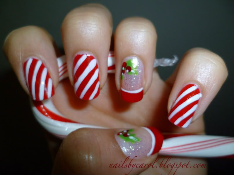Airbrush Nail Designs Candy Cane Christmas Holly Candy Cane Stripe