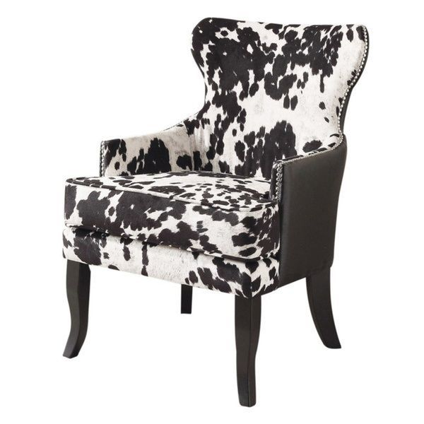 Excellent Black Modern Contemporary Arm Club Wing Back Chair Faux Cjindustries Chair Design For Home Cjindustriesco
