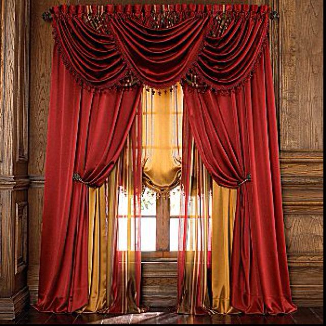 Love curtains from jcpenney these are my favorite but i for Red and gold drapes