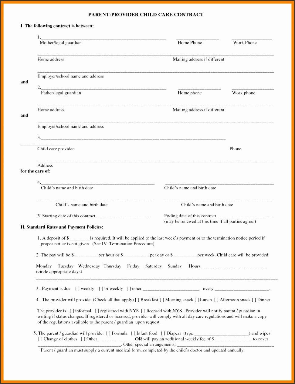 28 Child Care Contract Template in 2020 Contract