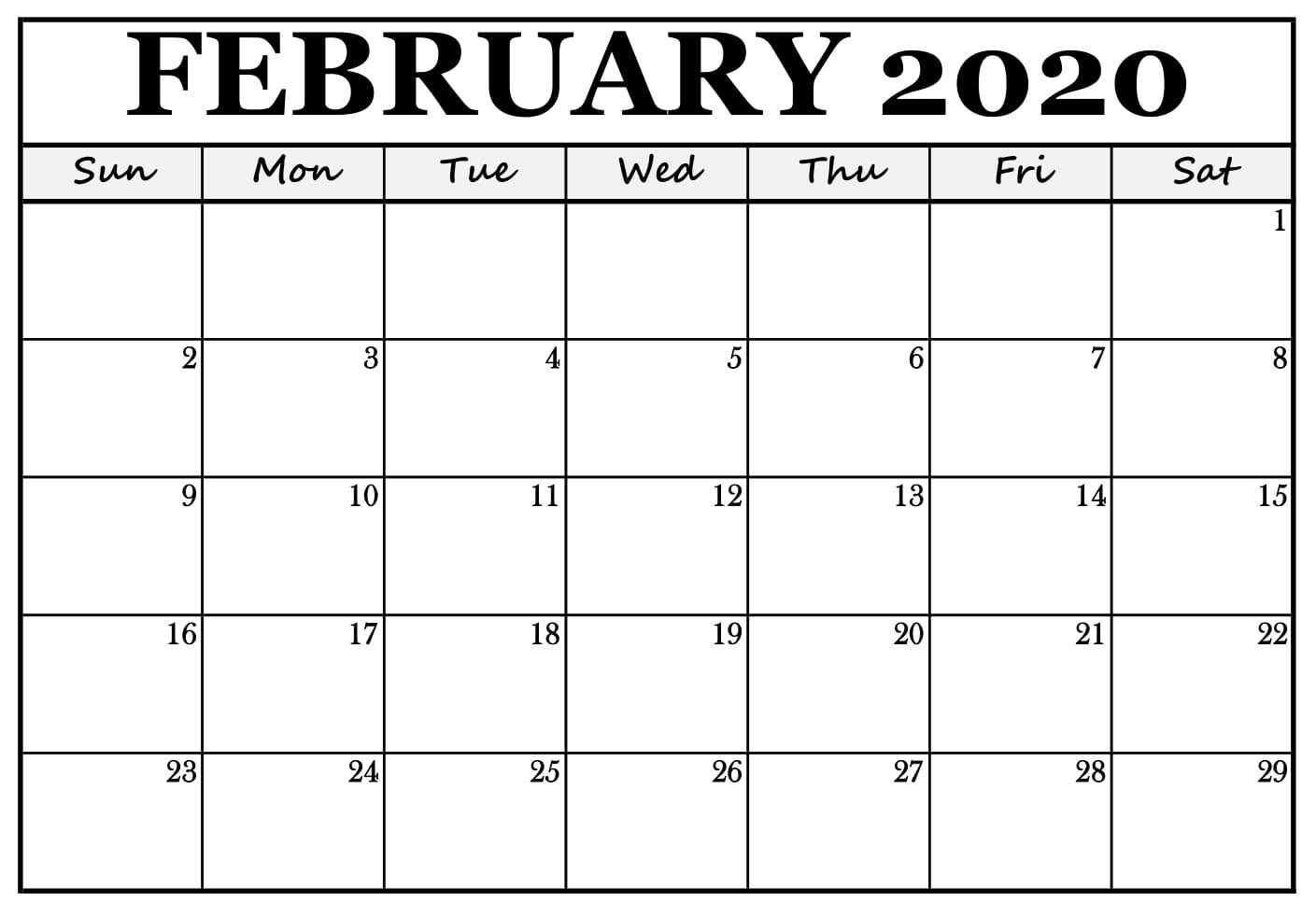 February 2020 Calendar Template Word Document In 2020 Free