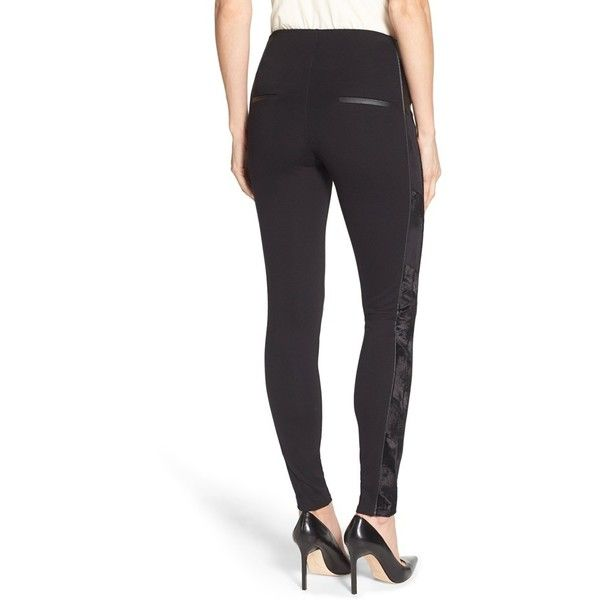 Lysse Tuxedo Stripe Ponte Leggings ($128) ❤ liked on Polyvore featuring pants, leggings, black, ponte leggings, black leggings, ponte knit pants, black ponte leggings and black faux pants