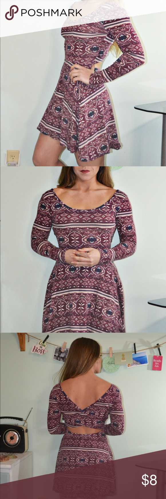 Print Maroon Skater Dress
