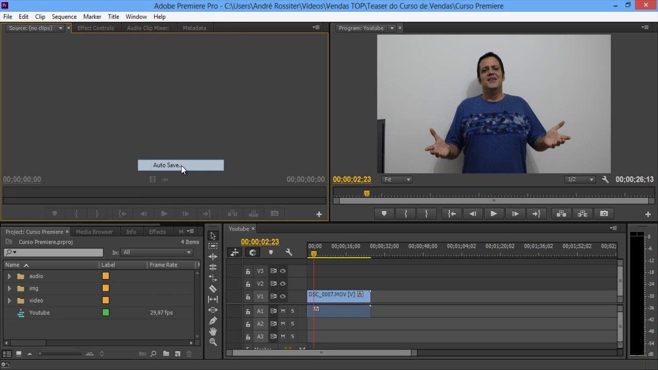 Vídeo Aula Adobe Premiere Pro CC. Aula 04. Dicas. Auto Save