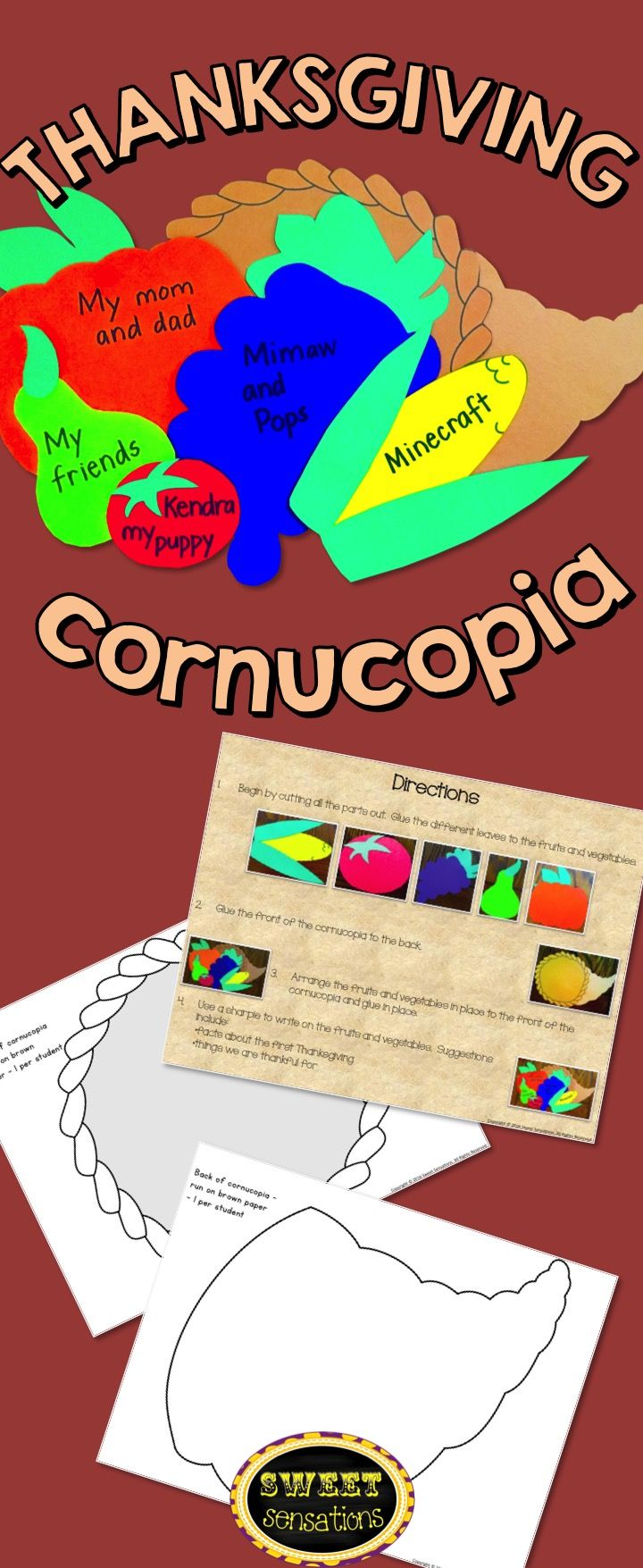 Thanksgiving cornucopia craft - simple shapes to cut out to make a cornucopia - can be run on colored paper or have students color themselves and record what they are thankful for.  Makes a great Thanksgiving centerpiece!