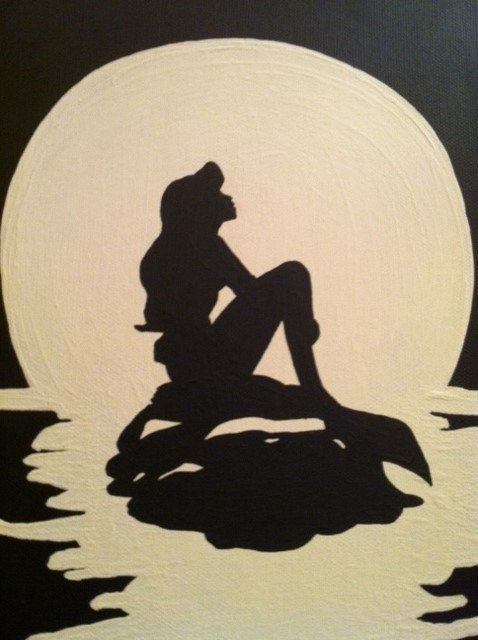 Original Acrylic Silhouette Painting of Ariel by KelleyHCrafts