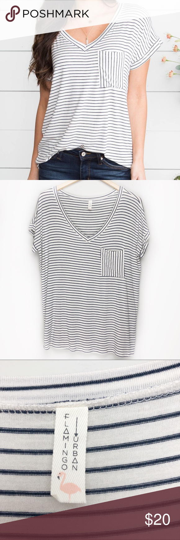 Flaming Urban Navy And Off White Striped Top Slight Oversized Fit Size Small Condition Preowned Excellent Condition No White Stripes Top Striped Top Tops