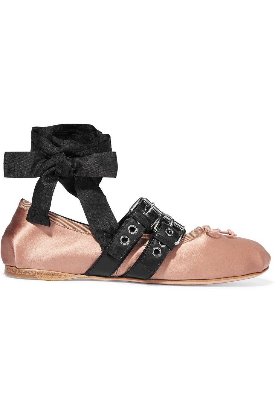 Miu Miu | Buckled leather and satin ballet flats | NET-A-PORTER.COM