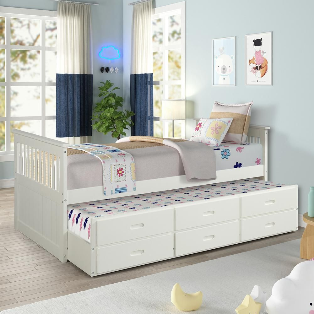 Harper Bright Designs White Twin Size Solid Wood Bed With
