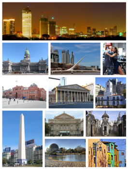 Argentina - capital: Buenos Aires - photos: from the top, left to right: Central Business District skyline, the Palace of the Argentine National Congress, Puente de la Mujer, Tango dancers in San Telmo, Casa Rosada, the Metropolitan Cathedral, Cabildo, the Obelisco, Teatro Colón, La Recoleta Cemetery, the Planetario within Parque Tres de Febrero, and Caminito.