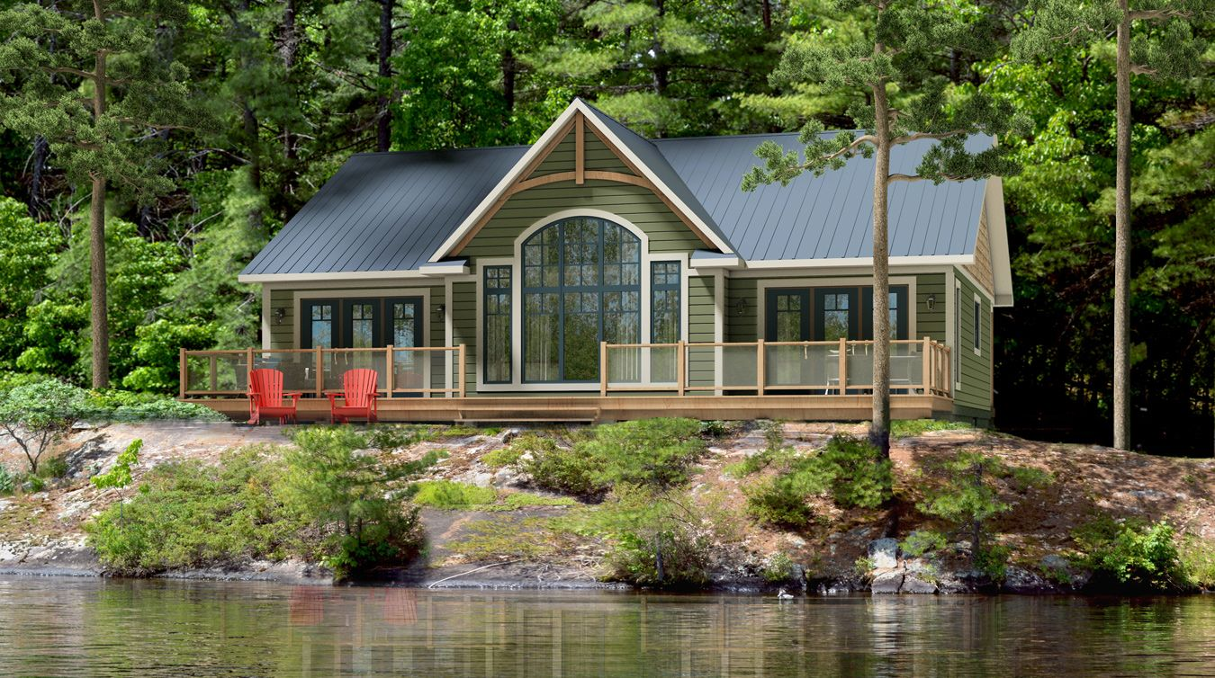 1599 sq ft exterior rendering rideau house plans for Lake cabin house plans