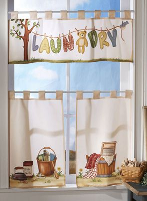 laundry room curtains   Pc. Laundry Room Window Curtain Valance Set from  Collections Etc.