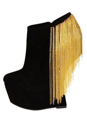Gold Fringe Women Wedge Shoes - Black Gold Fringe Women Wedge Shoes #black gold
