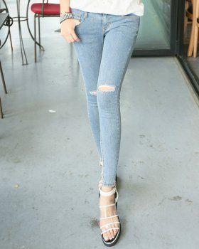 CP03024 High waist holes pencil pants slim jeans