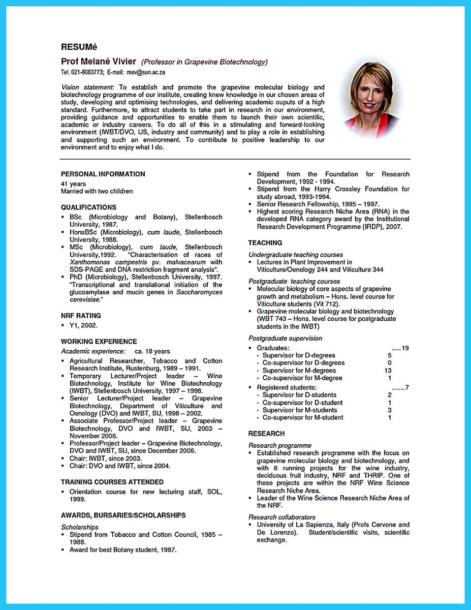 There are two types of biotech resume. One is the academic resume ...