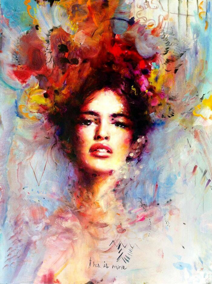Girl With Flowers In Hair Color Art Painting Beautiful Paintings