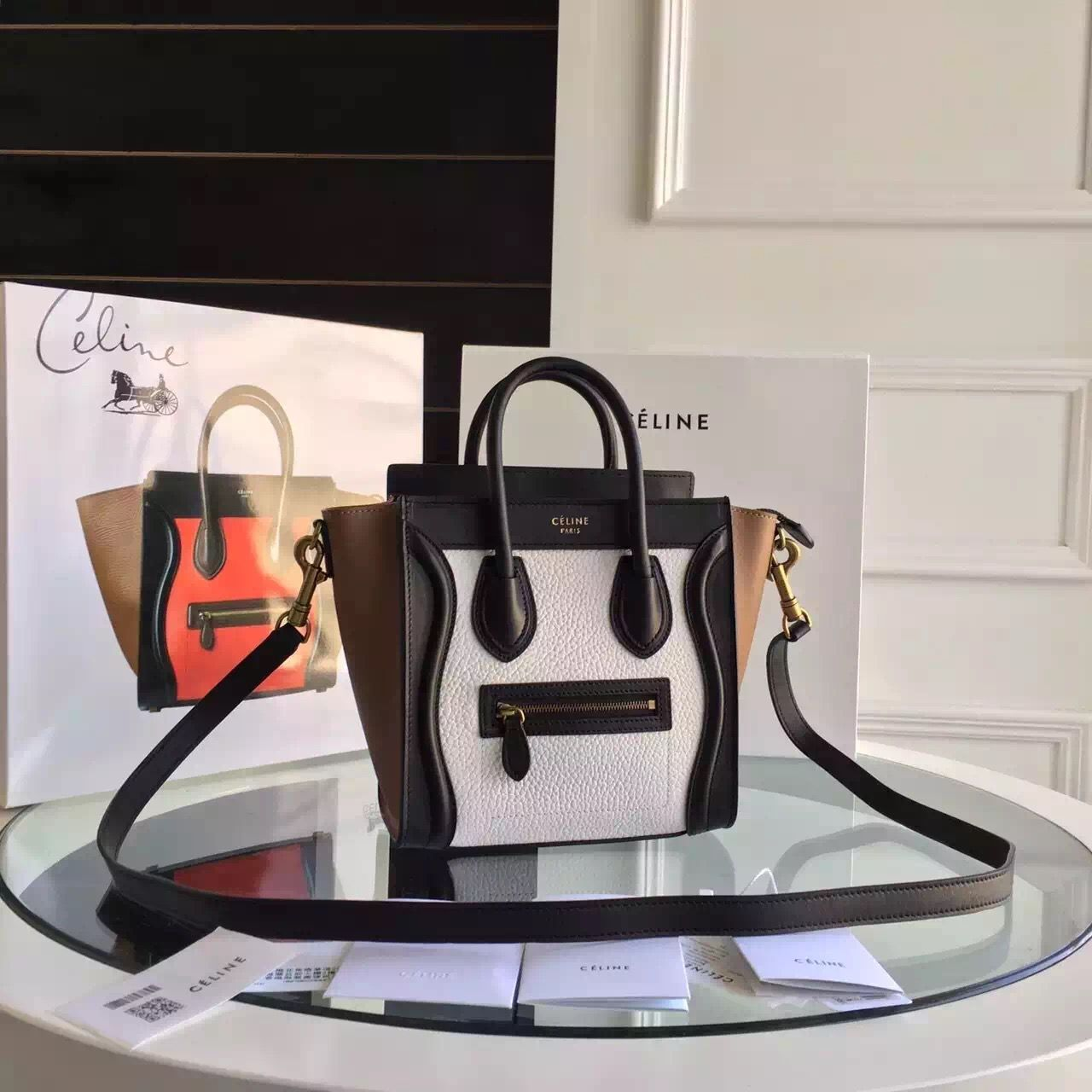 cf9fc325bdc996 Celine Tricolor Nano Luggage in Original Grainy and Smooth Calfskin  White/Black/Brown