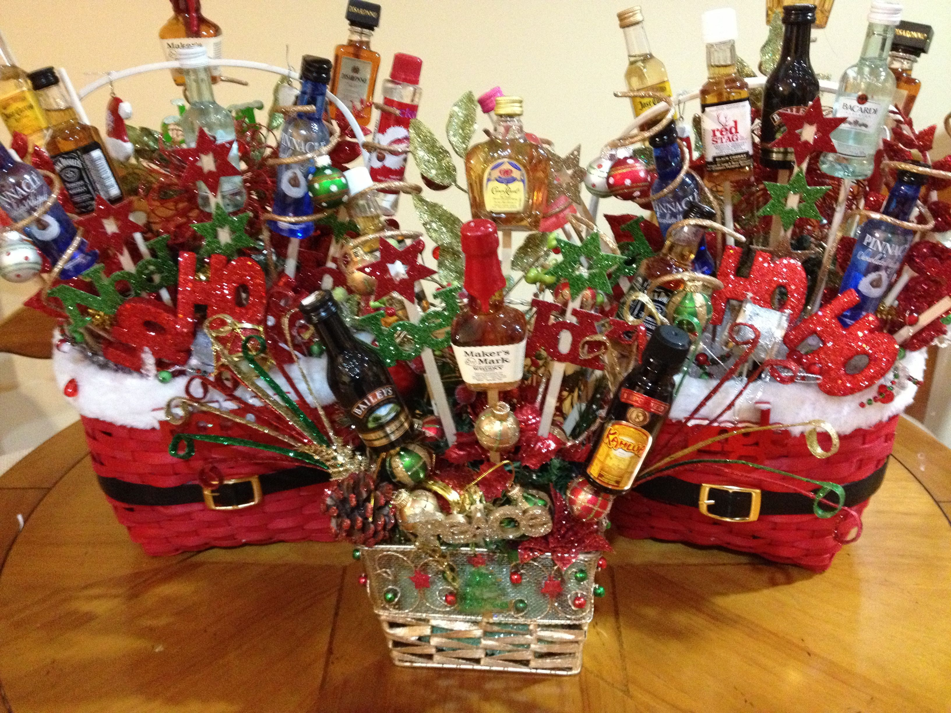 Liquor gift baskets. I made 2 something like these for our