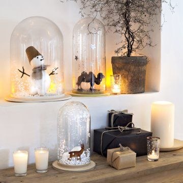 boules neige avec billes de polystyr ne dans une cloche en verre christmas pinterest. Black Bedroom Furniture Sets. Home Design Ideas