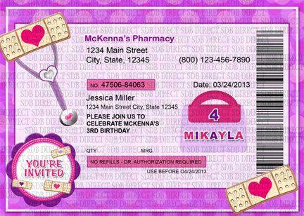Doctor Inspired Prescription Invitation, Doctor Invitation, Doc Theme Birthday, Doc Party - Printables