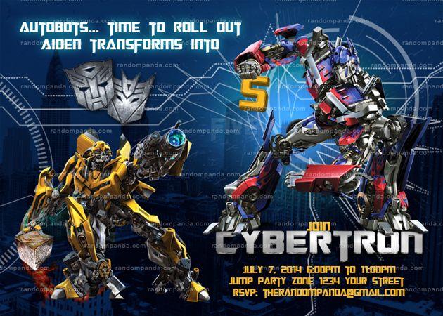 Diy Transformers Invitation Transformers Party Optimus Prime Invite Transformer Party Transformer Birthday Transformers Birthday Parties