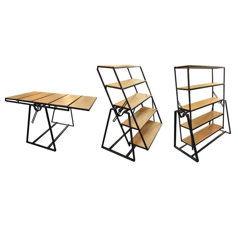 French Convertible Table Or Bookshelf 1 Stoly Stolovaya Polki V Stole Knizhnye Polki