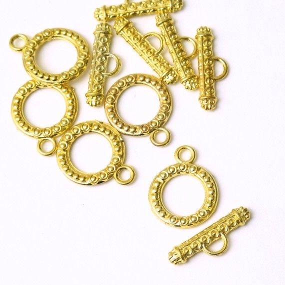 6 Sets Gold Toggle Clasps, Necklace Closure Bracelet Closure Connector Bar and Ring  A13-013 on Etsy, $3.00
