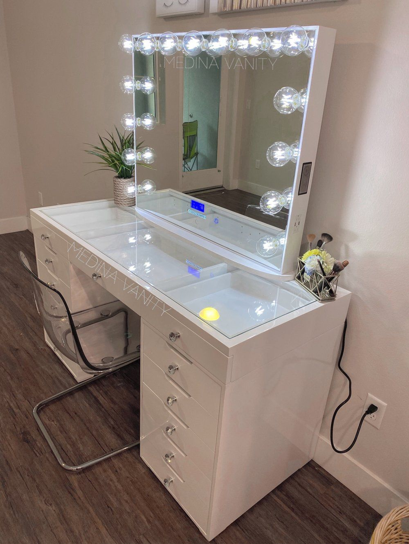 GLAM Glow® Pro Vanity Mirror + ZARA Pro Vanity Table + 9 dressers