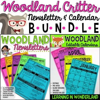 Calendar  Newsletter Template Bundle Woodland Critters Edition