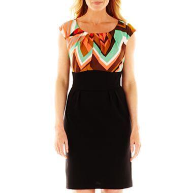 Alyx® Short-Sleeve Chevron Print Dress - jcpenney