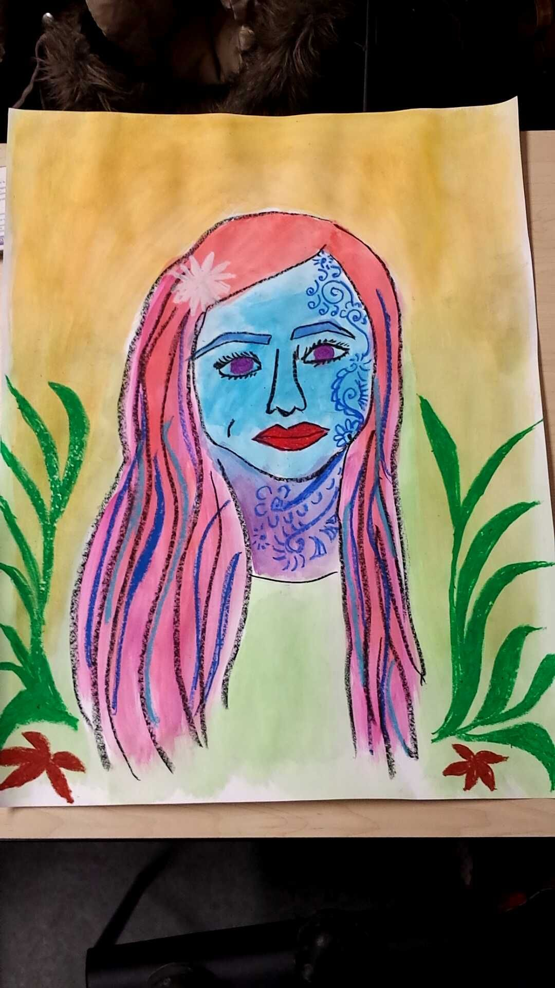 Another example of the end product of an oil pastel + watercolor #selfie!