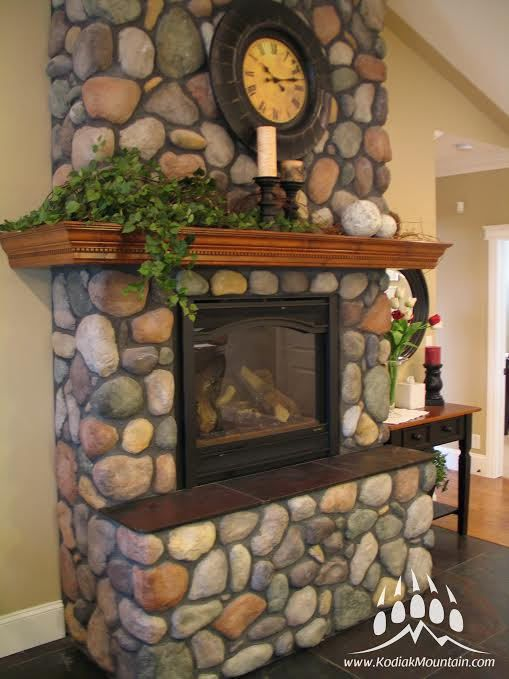 River Rock With Images Manufactured Stone Fireplace River