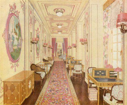 britannic interior rms homeric corridor nautical design