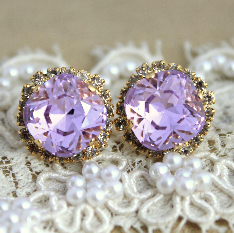 Provance Purple Violet Lavender Crystal Stud Big Earring  14 K Plated Gold  Post Earrings Real