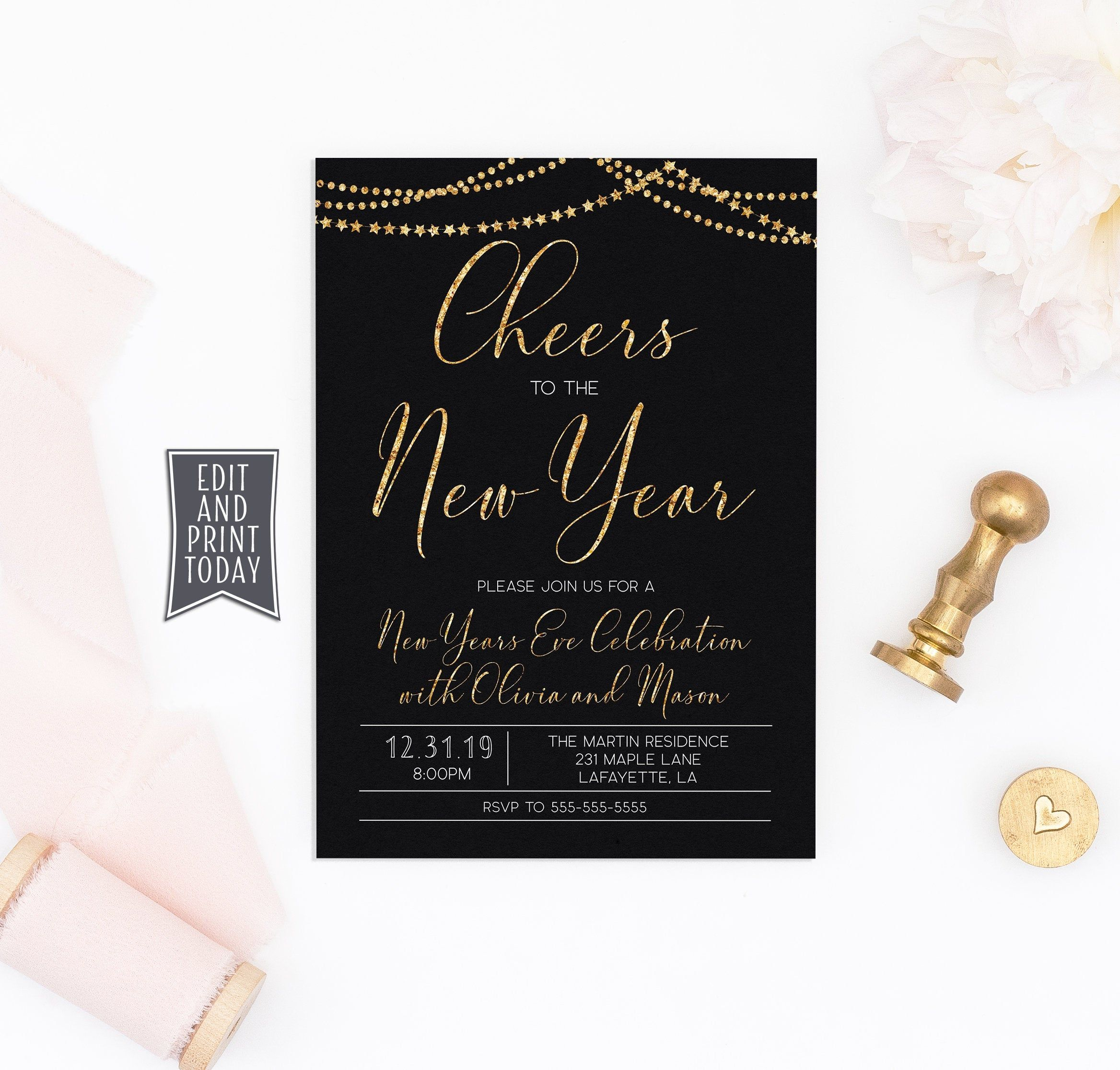 New Years Party Invitation Template Instant Download • New