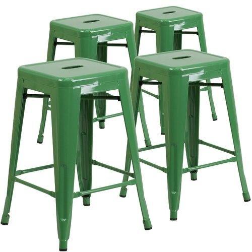 Flash Furniture 4 Pack 24 High Backless Metal Indoor Outdoor