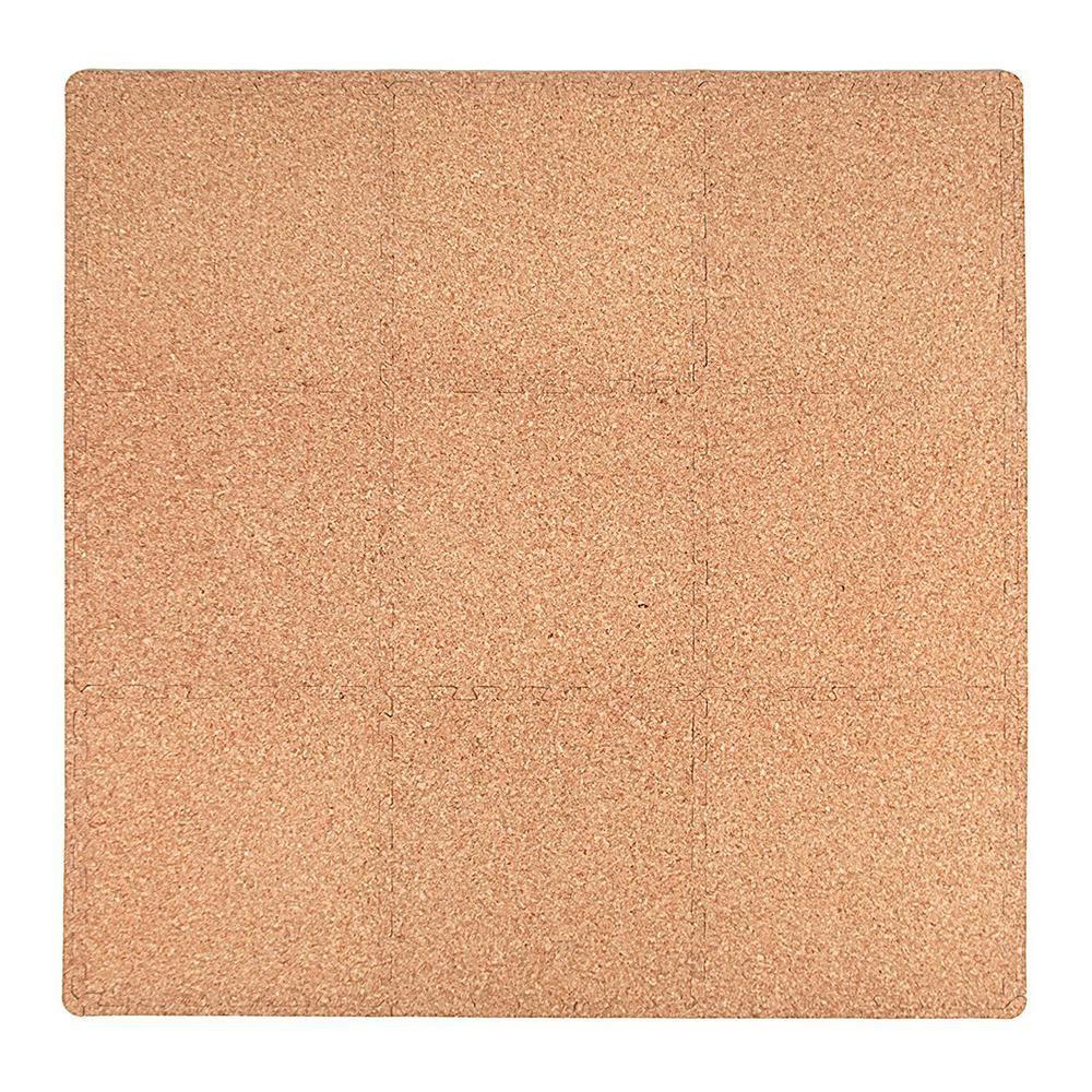 Tadpoles Cork Laminate 36 In X 36 In Eva Floor Mat Set Brown Floor Mats Flooring Cork