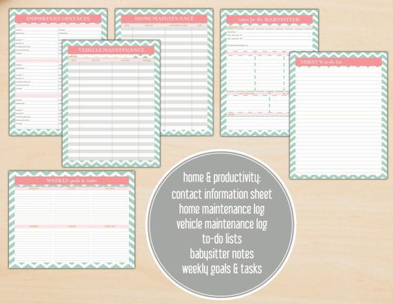 Mint and Coral Home Management / Household Binder by CitrusPaperCo