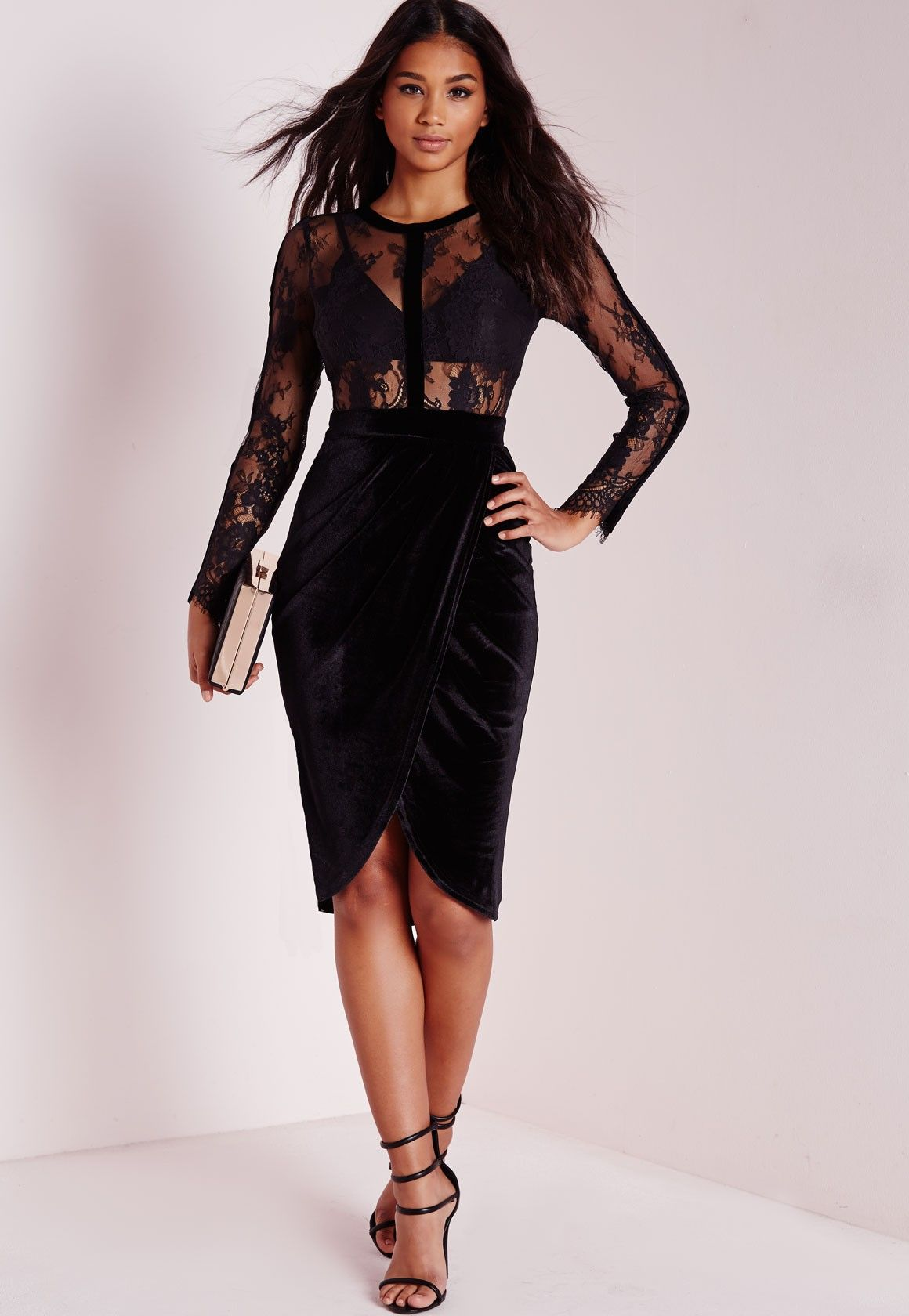 Sheer Lace Velvet Midi Dress Black Dresses Velvet