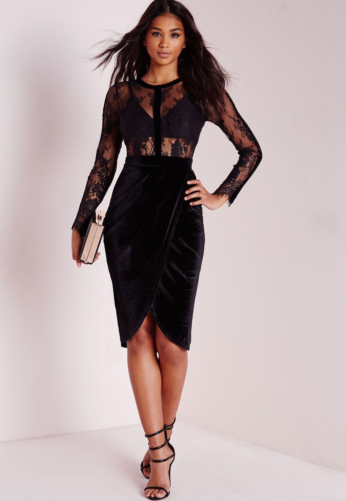 Missguided velvet racer high neck midi dress black in black lyst - Missguided Sheer Lace Velvet Midi Dress Black