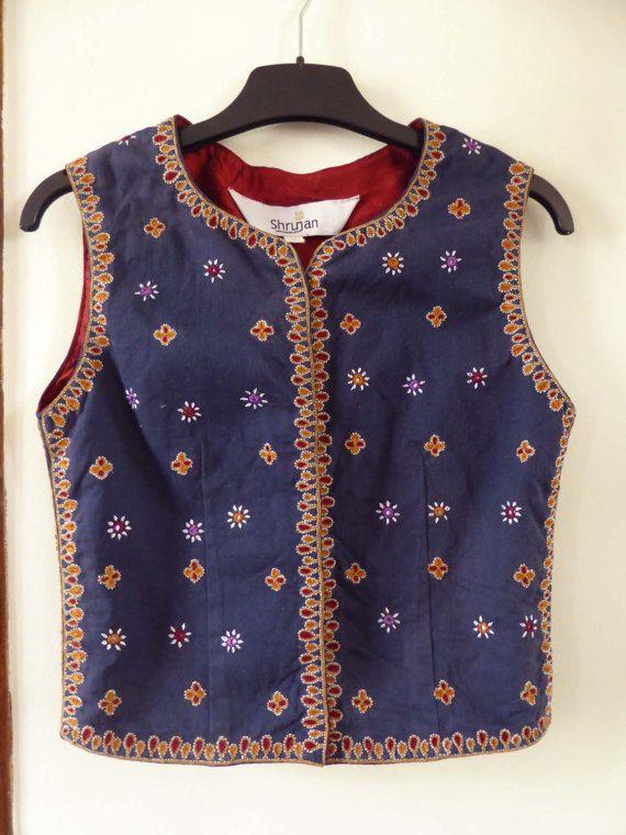 Vintage indian Shrujan waistcoat vest hand by MustifetteVintage