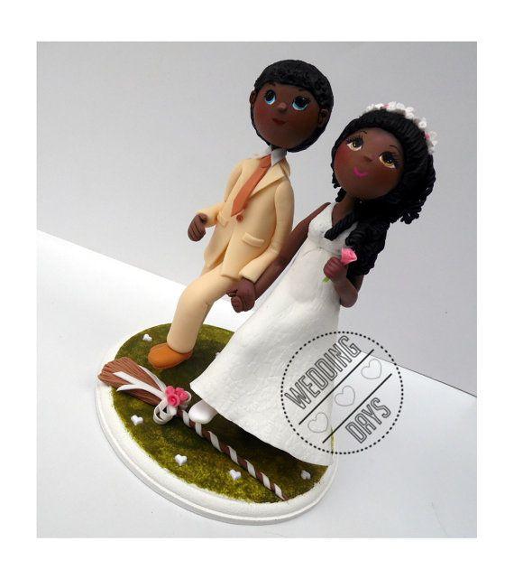 Wedding Broom Ideas: Jumping The Broom Wedding Cake Topper Handmade By