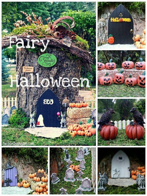TINY Pumpkin Halloween Fairy Garden Arched by TheEnchantedAcorn