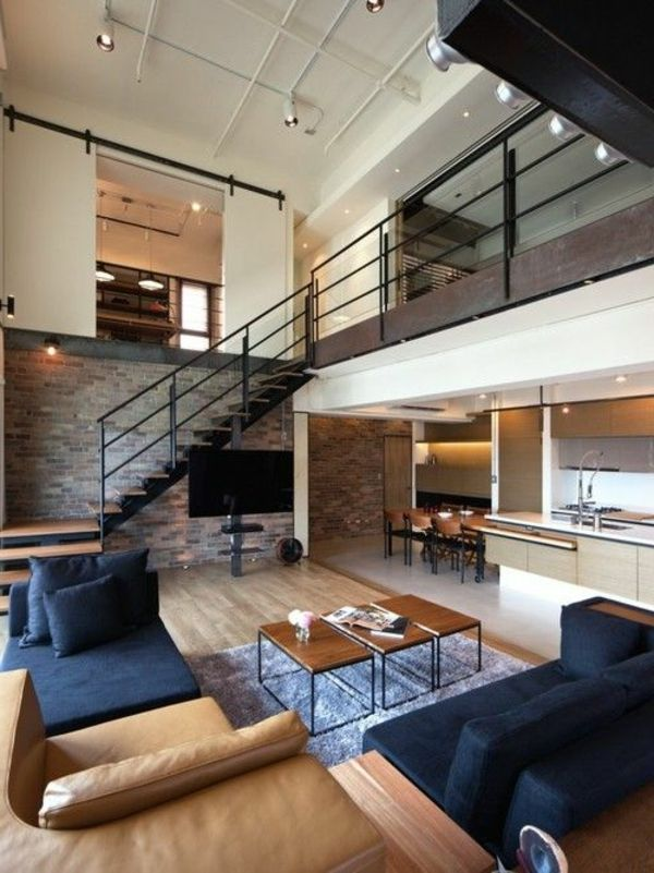 escalier pour mezzanine, lofts modernes | Salon | Apartment interior ...