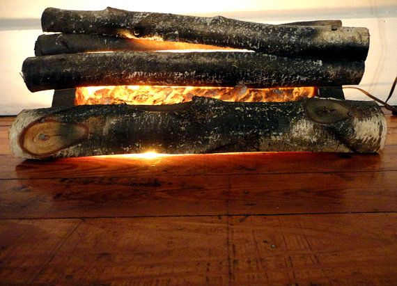 Vintage Fireplace Logs Fire Place Insert Faux Fake Fire Vintage ...