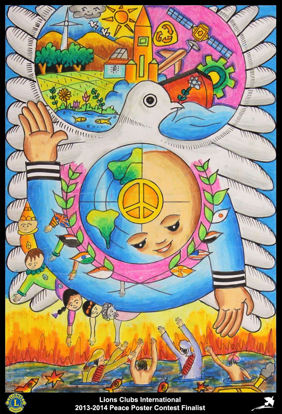 Finalist From India Tisayanvilai Lions Club 2013 2014 Peace Poster Contest Peace Poster Poster Drawing Drawing Competition