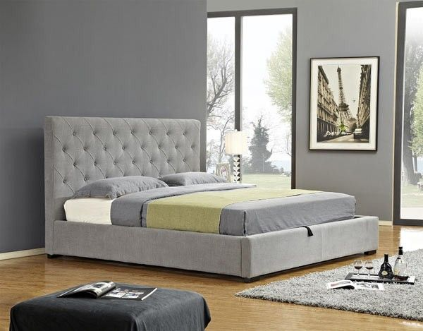 J M Furniture Prague Twin Storage Bed In Light Grey Fabric 18258 T Upholstered Storage Furniture Murphy Bed Plans