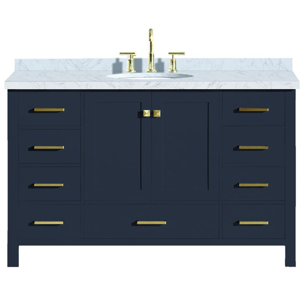 Ariel Cambridge 55 In W X 22 In D Vanity In Midnight Blue With